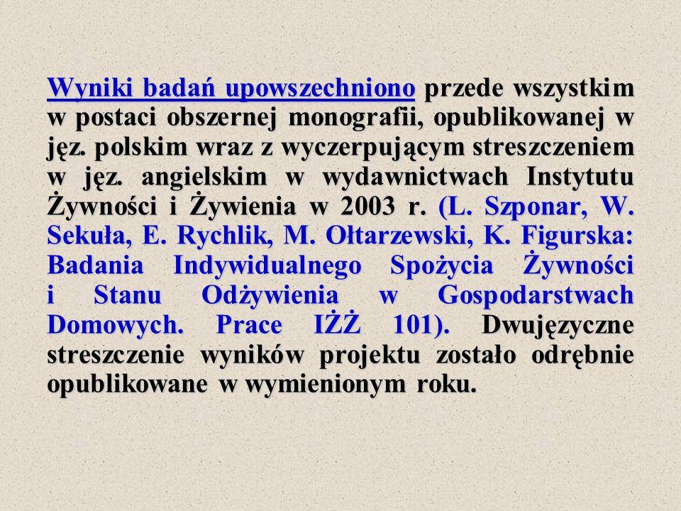 Wyniki badań upowszechniono przede wszystkim w postaci obszernej monografii, opublikowanej w jęz. polskim wraz z wyczerpującym streszczeniem w jęz. an