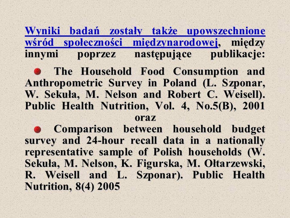 Wyniki badań zostały także upowszechnione wśród społeczności międzynarodowej, między innymi poprzez następujące publikacje: The Household Food Consump