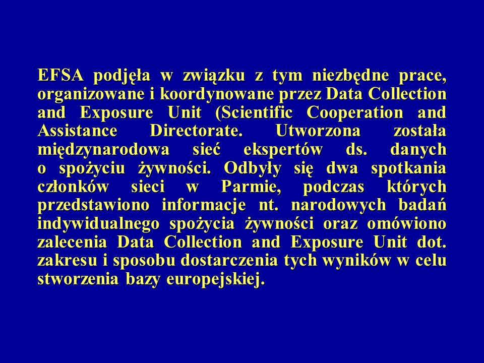 EFSA podjęła w związku z tym niezbędne prace, organizowane i koordynowane przez Data Collection and Exposure Unit (Scientific Cooperation and Assistan