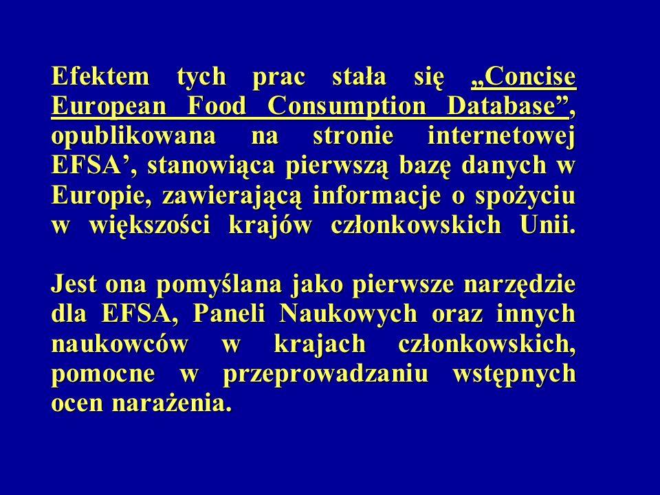 Efektem tych prac stała się Concise European Food Consumption Database, opublikowana na stronie internetowej EFSA, stanowiąca pierwszą bazę danych w E