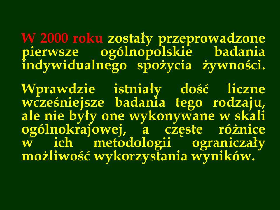 W 2000 roku zostały przeprowadzone pierwsze ogólnopolskie badania indywidualnego spożycia żywności. Wprawdzie istniały dość liczne wcześniejsze badani