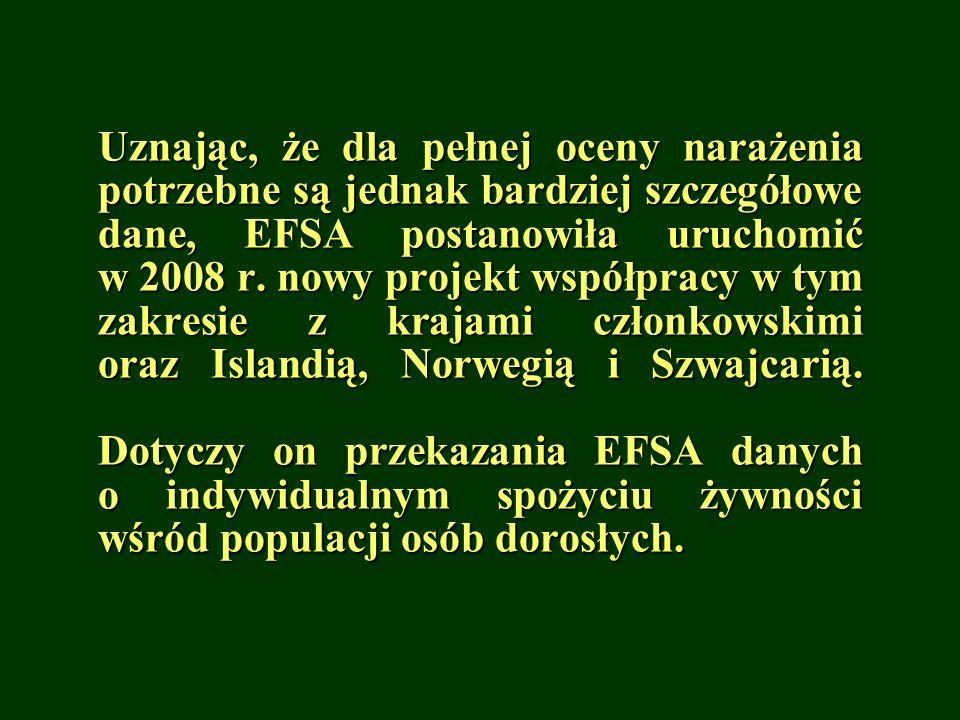 Uznając, że dla pełnej oceny narażenia potrzebne są jednak bardziej szczegółowe dane, EFSA postanowiła uruchomić w 2008 r. nowy projekt współpracy w t