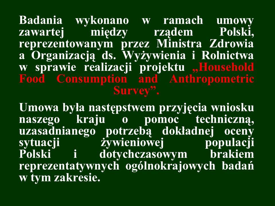 Badania wykonano w ramach umowy zawartej między rządem Polski, reprezentowanym przez Ministra Zdrowia a Organizacją ds. Wyżywienia i Rolnictwa w spraw