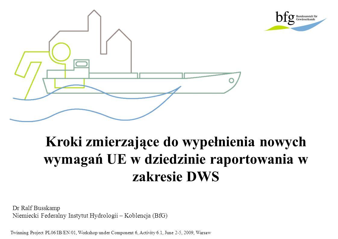 Twinning Project PL06/IB/EN/01, Workshop under Component 6, Activity 6.1, June 2-5, 2009, Warsaw Treść 1.Krótki wstęp na temat BfG (2-5) 2.Wprowadzenie / publikacja nowego wzoru raportu w Niemczech (6-12) 3.Wdrożenie technicznych mechanizmów przekazywania informacji z poziomu krajów związkowych na poziom federalny i poziom KE (w tym, określenie interfejsów informatycznych, okresy próbne) (13-19) 4. WasserBLIcK w Niemczech: utworzenie krajowej bazy danych do raportowania i informowania konsumentów (20-34)