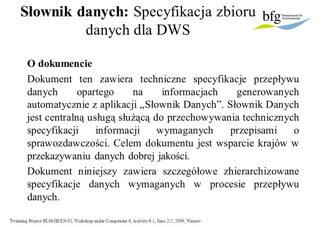 Twinning Project PL06/IB/EN/01, Workshop under Component 6, Activity 6.1, June 2-5, 2009, Warsaw Słownik danych: Specyfikacja zbioru danych dla DWS O