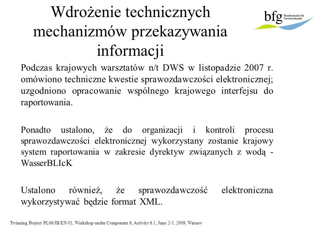 Twinning Project PL06/IB/EN/01, Workshop under Component 6, Activity 6.1, June 2-5, 2009, Warsaw Wdrożenie technicznych mechanizmów przekazywania info