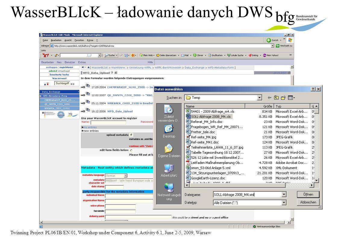Twinning Project PL06/IB/EN/01, Workshop under Component 6, Activity 6.1, June 2-5, 2009, Warsaw WasserBLIcK – ładowanie danych DWS