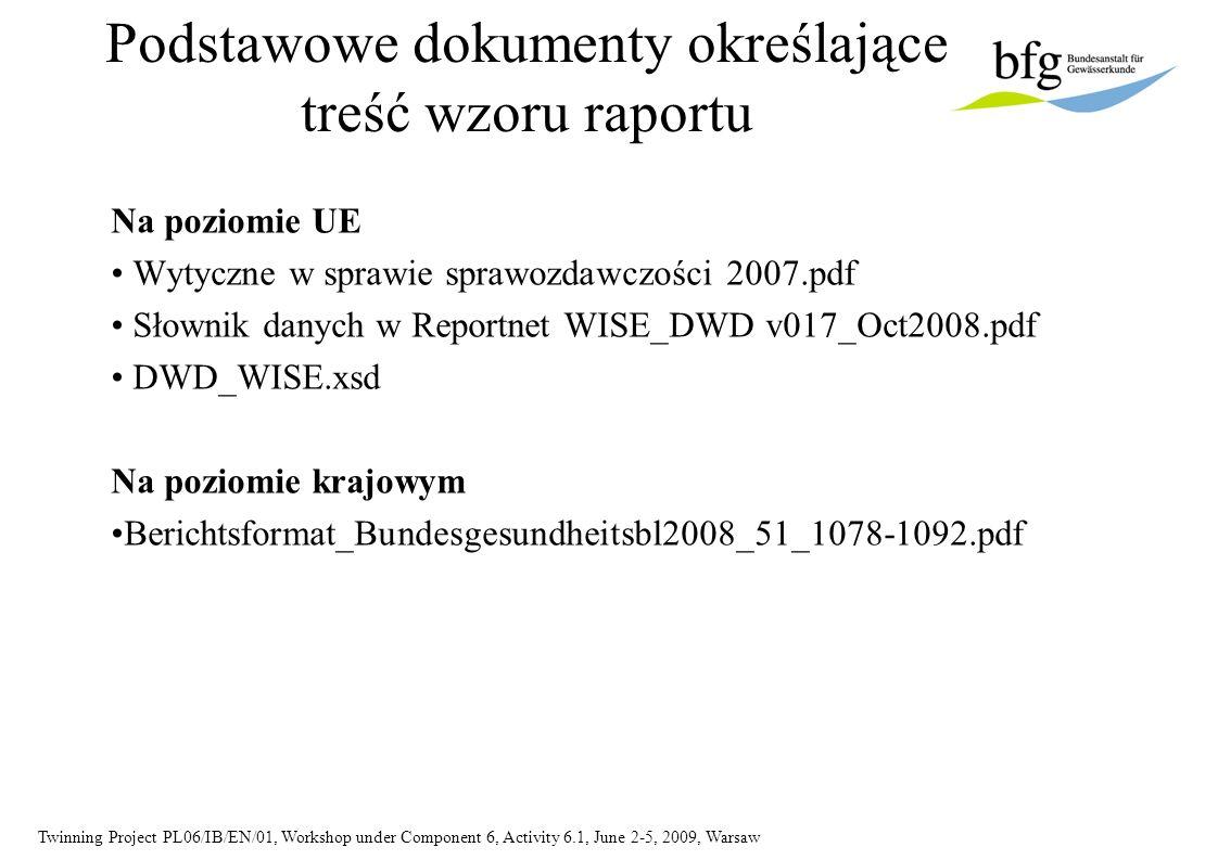 Twinning Project PL06/IB/EN/01, Workshop under Component 6, Activity 6.1, June 2-5, 2009, Warsaw Podstawowe dokumenty określające treść wzoru raportu