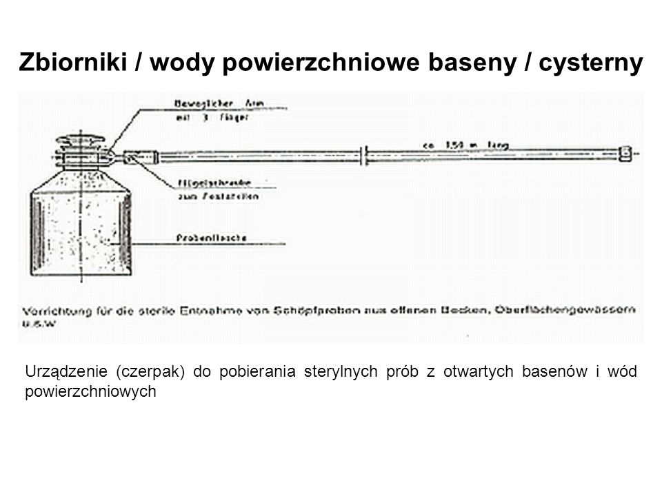 Urządzenie (czerpak) do pobierania sterylnych prób z otwartych basenów i wód powierzchniowych