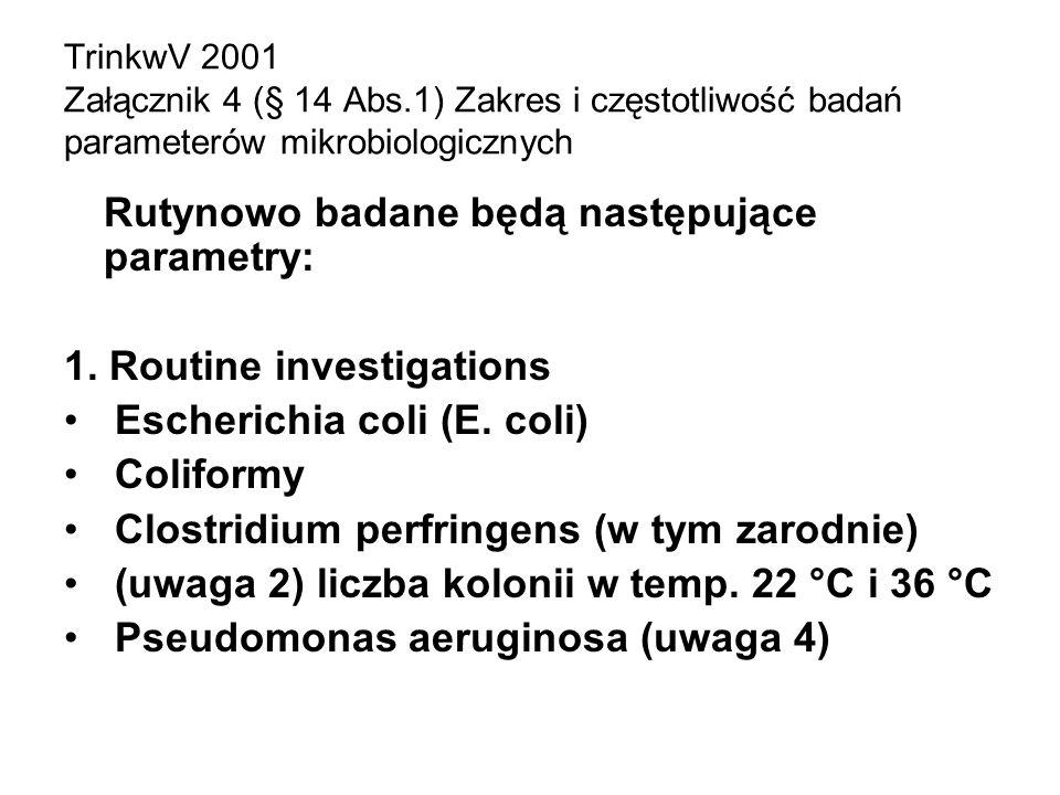 TrinkwV 2001 Załącznik 4 (§ 14 Abs.1) Zakres i częstotliwość badań parameterów mikrobiologicznych Rutynowo badane będą następujące parametry: 1. Routi