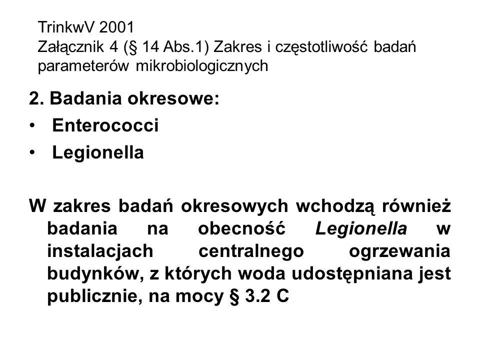 2. Badania okresowe: Enterococci Legionella W zakres badań okresowych wchodzą również badania na obecność Legionella w instalacjach centralnego ogrzew