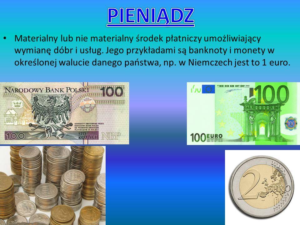 Materialny lub nie materialny środek płatniczy umożliwiający wymianę dóbr i usług.