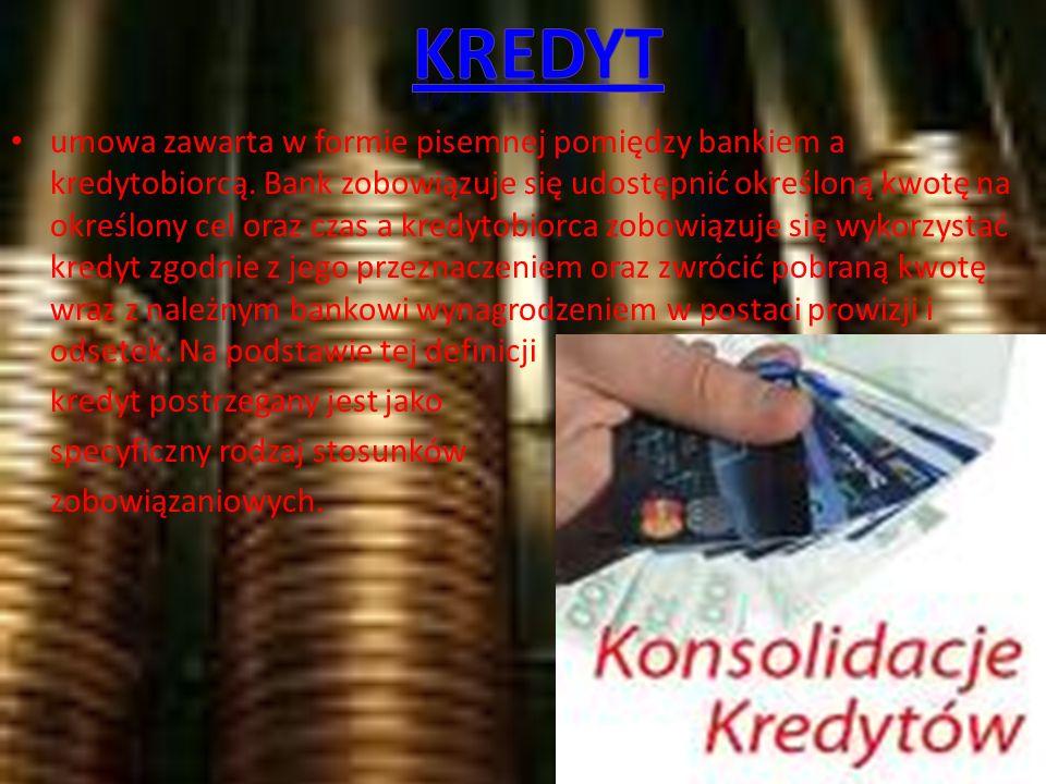 umowa zawarta w formie pisemnej pomiędzy bankiem a kredytobiorcą.