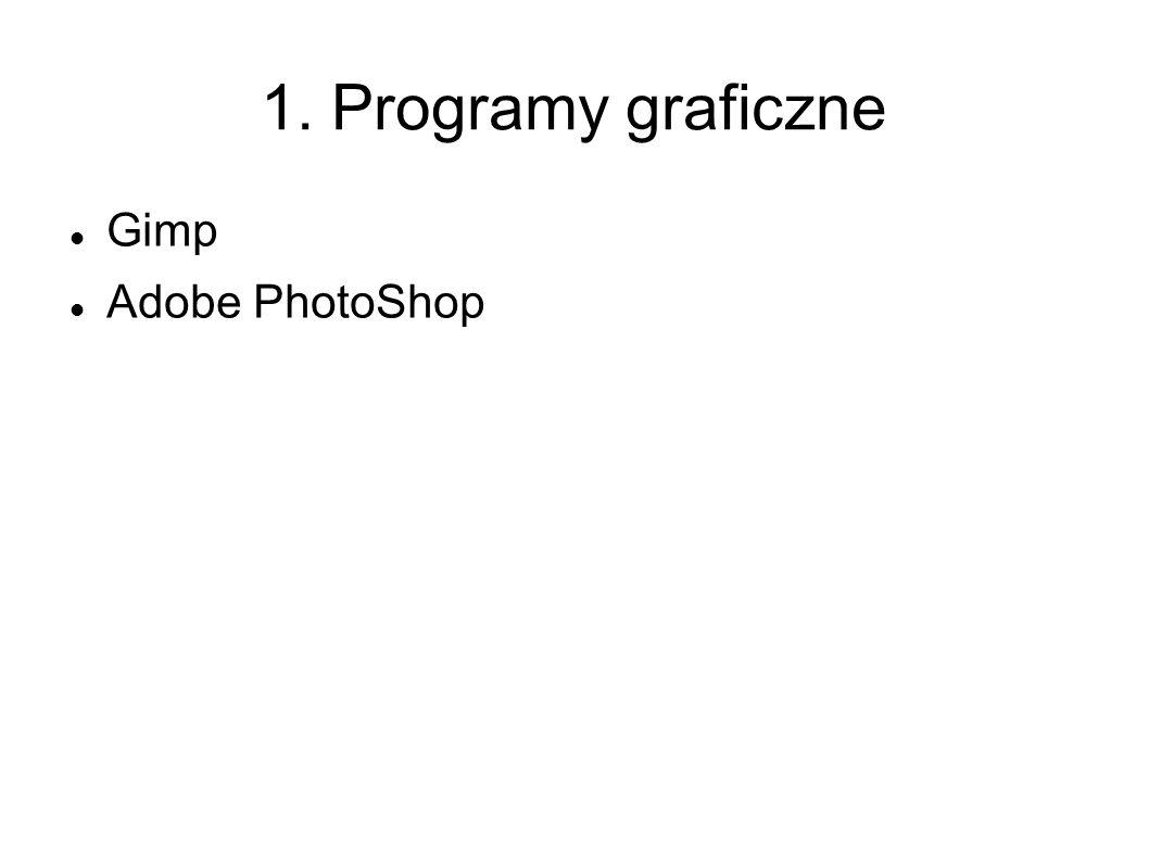 1. Programy graficzne Gimp Adobe PhotoShop
