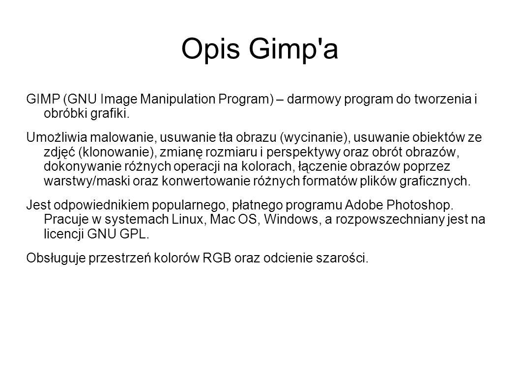 Opis Gimp'a GIMP (GNU Image Manipulation Program) – darmowy program do tworzenia i obróbki grafiki. Umożliwia malowanie, usuwanie tła obrazu (wycinani