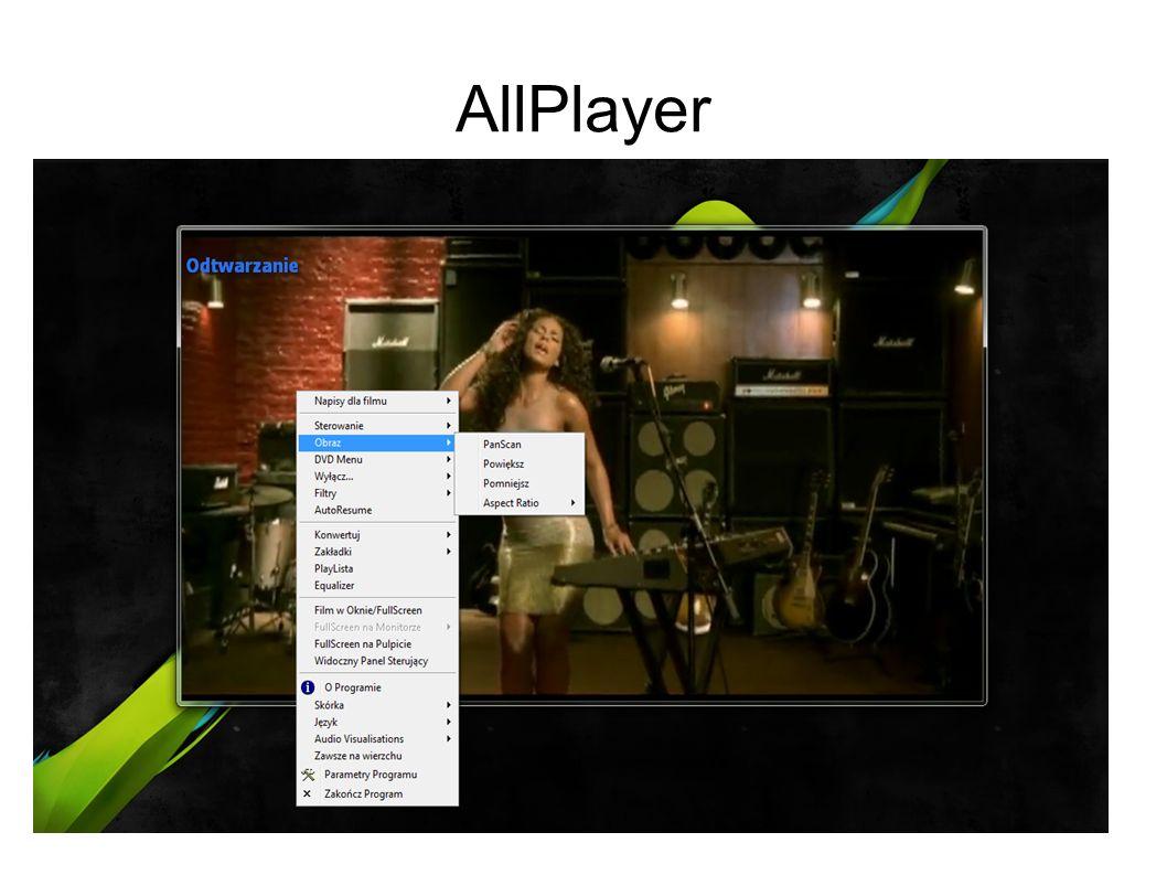 Opis AllPlayer a AllPlayer - w przeciwieństwie do większości odtwarzaczy ALLPlayer nie jest nakładką na MediaPlayera, a korzysta bezpośrednio z DirectX, dzięki czemu przy jego pomocy można odtworzyć każdy film (wbudowane kodeki umożliwiają odtwarzanie najpopularniejszych formatów w tym DivX, XviD, MP3, a także AVI, FLV, MP4, 3GP, MKV, M2TS, MPG, MPEG, RMVB, WMV, QuickTime, MOV, FLAC, APE i wiele innych).
