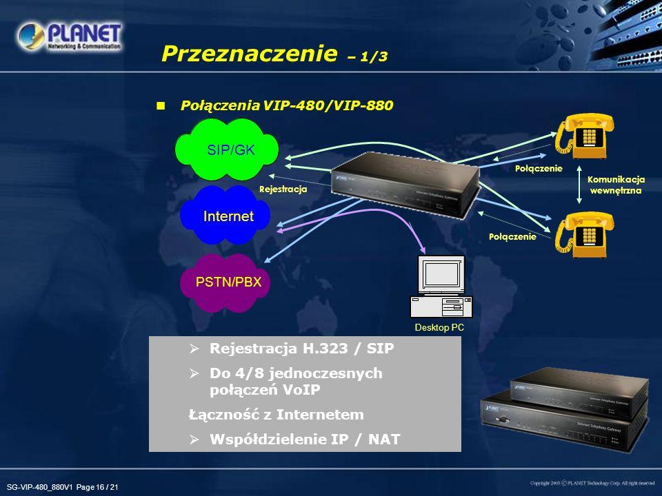 SG-VIP-480_880V1 Page 16 / 21 Przeznaczenie – 1/3 Połączenia VIP-480/VIP-880 Rejestracja H.323 / SIP Do 4/8 jednoczesnych połączeń VoIP Łączność z Internetem Współdzielenie IP / NAT Rejestracja Internet Desktop PC Połączenie Komunikacja wewnętrzna SIP/GK PSTN/PBX