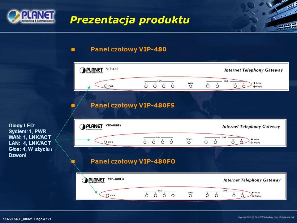 SG-VIP-480_880V1 Page 5 / 21 Panel tylny VIP-480 Panel tylny VIP-480FS Panel tylny VIP-480FO Prezentacja produktu 2 FXO, 2 FXS Obsługa linii PSTN 1 x WAN, 4 x LAN 1 x Reset 4 FXS Dla KTS / FAX lub wchodzącej linii PBX 4 FXO Dla wyjściowej linii PBX, PSTN