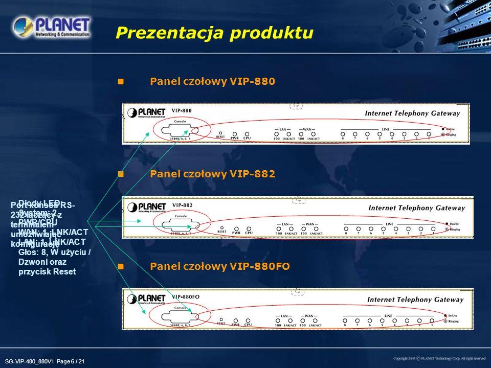 SG-VIP-480_880V1 Page 7 / 21 Panel tylny VIP-880 Panel tylny VIP-882 Panel tylny VIP-880FO Prezentacja produktu Obsługa linii PSTN - tylko VIP-880/VIP-882 4 FXO, 4 FXS 1 x LAN 1 x WAN 6 FXS, 2 FXO 8 FXO