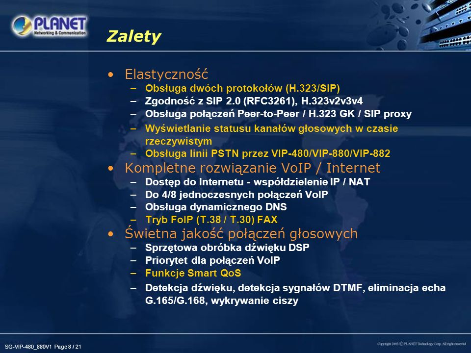 SG-VIP-480_880V1 Page 19 / 21 Porównanie produktów VIP-480