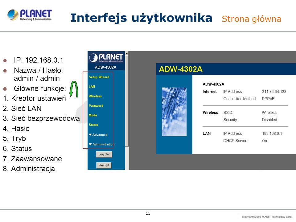15 IP: 192.168.0.1 Nazwa / Hasło: admin / admin Główne funkcje: 1. Kreator ustawień 2. Sieć LAN 3. Sieć bezprzewodowa 4. Hasło 5. Tryb 6. Status 7. Za