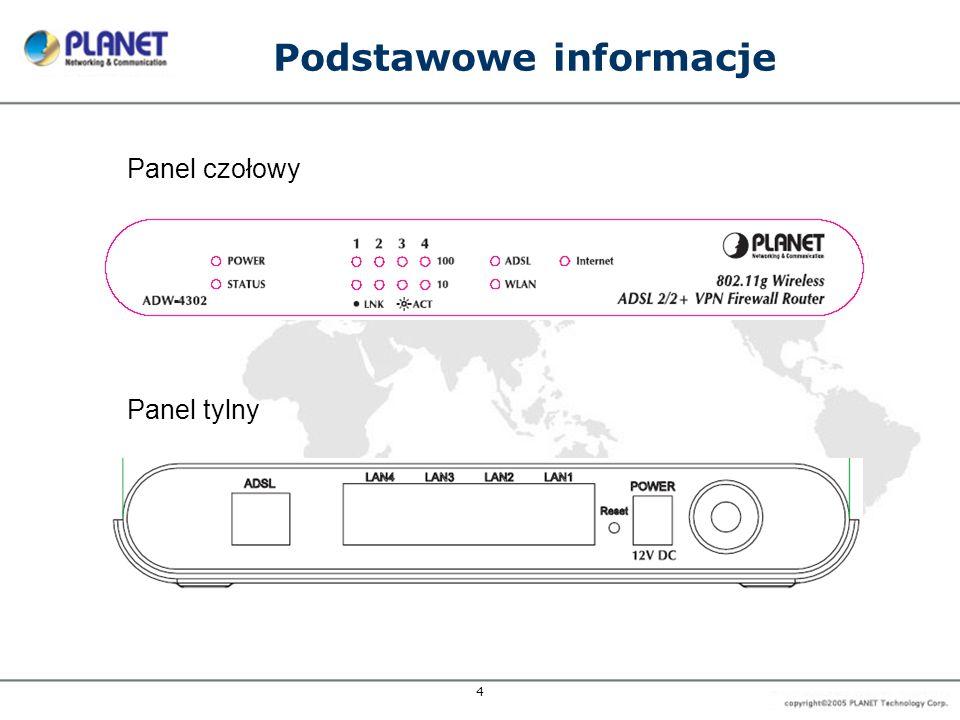 4 Podstawowe informacje Panel tylny Panel czołowy