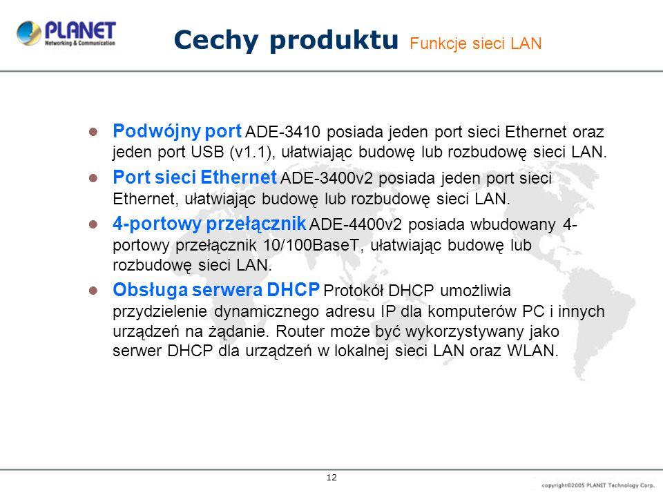 12 Cechy produktu Funkcje sieci LAN Podwójny port ADE-3410 posiada jeden port sieci Ethernet oraz jeden port USB (v1.1), ułatwiając budowę lub rozbudo