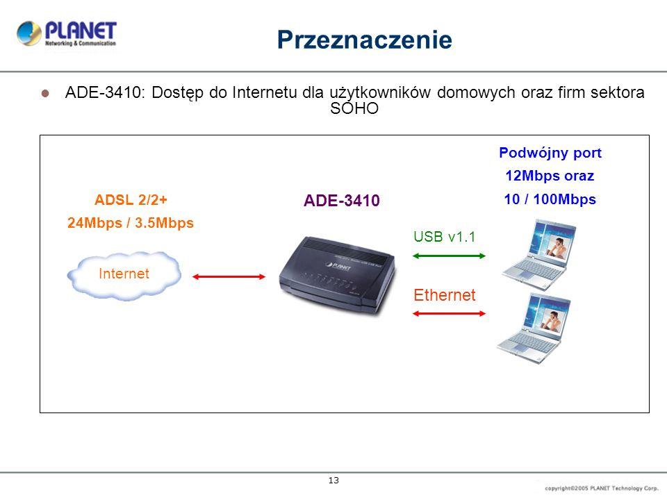 13 Przeznaczenie ADE-3410: Dostęp do Internetu dla użytkowników domowych oraz firm sektora SOHO Internet Podwójny port 12Mbps oraz 10 / 100Mbps ADSL 2/2+ 24Mbps / 3.5Mbps ADE-3410 USB v1.1 Ethernet
