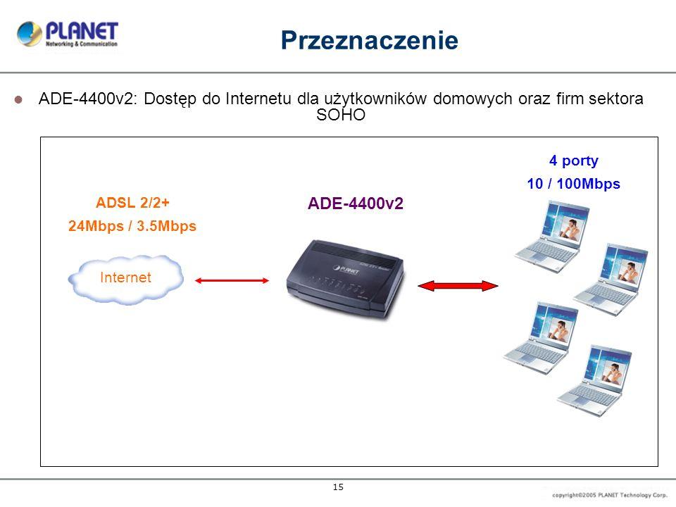 15 Przeznaczenie Internet 4 porty 10 / 100Mbps ADSL 2/2+ 24Mbps / 3.5Mbps ADE-4400v2 ADE-4400v2: Dostęp do Internetu dla użytkowników domowych oraz firm sektora SOHO