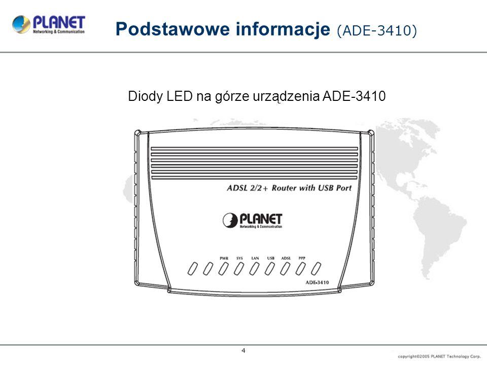 5 Podstawowe informacje (ADE-3400v2) Wymiary 132 x 94 x 35 (Szer.