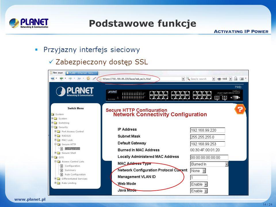 www.planet.pl 14 / 24 Podstawowe funkcje Przyjazny interfejs sieciowy Zabezpieczony dostęp SSL