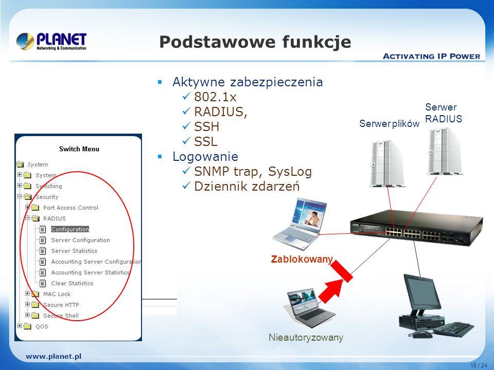 www.planet.pl 15 / 24 Podstawowe funkcje Aktywne zabezpieczenia 802.1x RADIUS, SSH SSL Logowanie SNMP trap, SysLog Dziennik zdarzeń Serwer RADIUS Serwer plików Zablokowany Nieautoryzowany