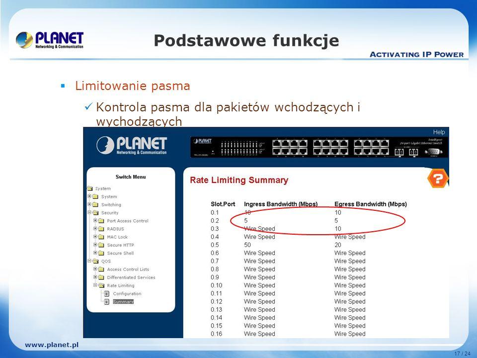 www.planet.pl 17 / 24 Podstawowe funkcje Limitowanie pasma Kontrola pasma dla pakietów wchodzących i wychodzących