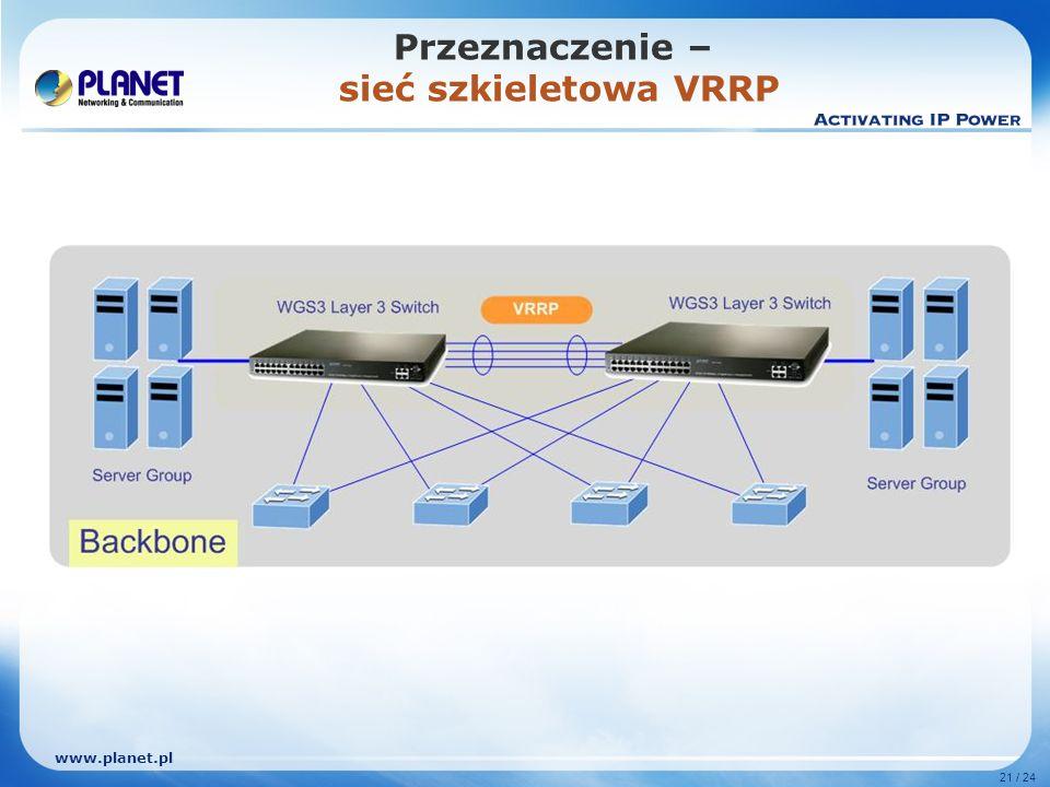 www.planet.pl 21 / 24 Przeznaczenie – sieć szkieletowa VRRP