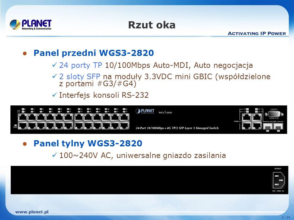 www.planet.pl 4 / 24 Rzut oka Panel przedni WGS3-2820 24 porty TP 10/100Mbps Auto-MDI, Auto negocjacja 2 sloty SFP na moduły 3.3VDC mini GBIC (współdzielone z portami #G3/#G4) Interfejs konsoli RS-232 Panel tylny WGS3-2820 100~240V AC, uniwersalne gniazdo zasilania