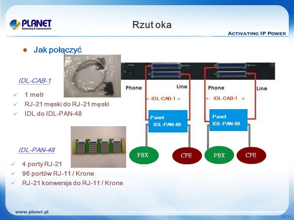www.planet.pl 10/21 Rzut oka Jak połączyć IDL-CAB-1 IDL-PAN-48 1 metr RJ-21 męski do RJ-21 męski IDL do IDL-PAN-48 4 porty RJ-21 96 portów RJ-11 / Kro