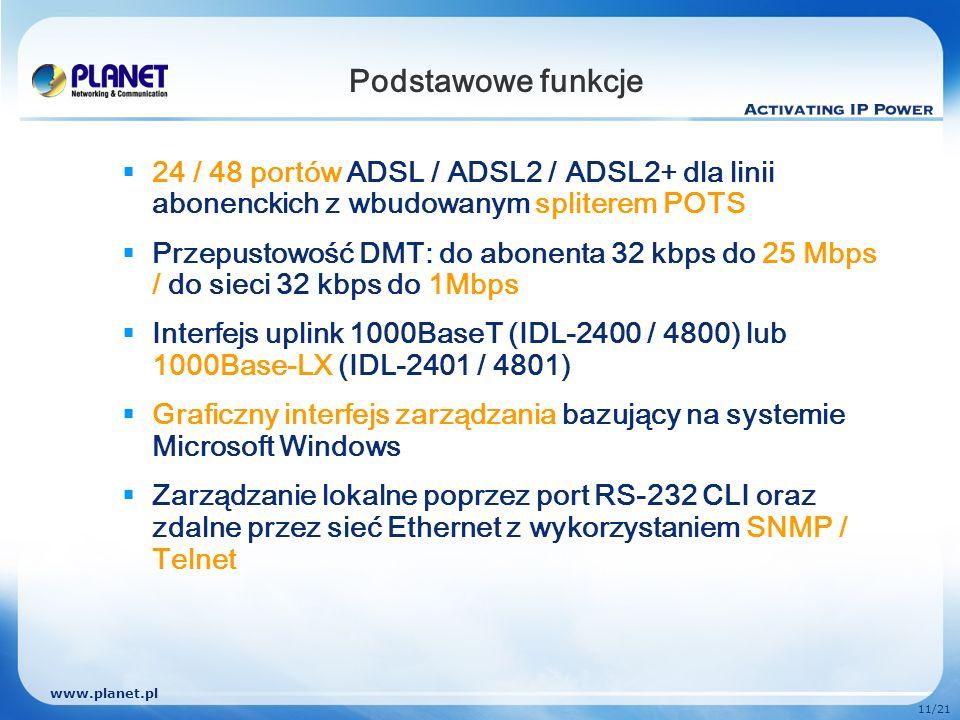 www.planet.pl 11/21 Podstawowe funkcje 24 / 48 portów ADSL / ADSL2 / ADSL2+ dla linii abonenckich z wbudowanym spliterem POTS Przepustowość DMT: do ab