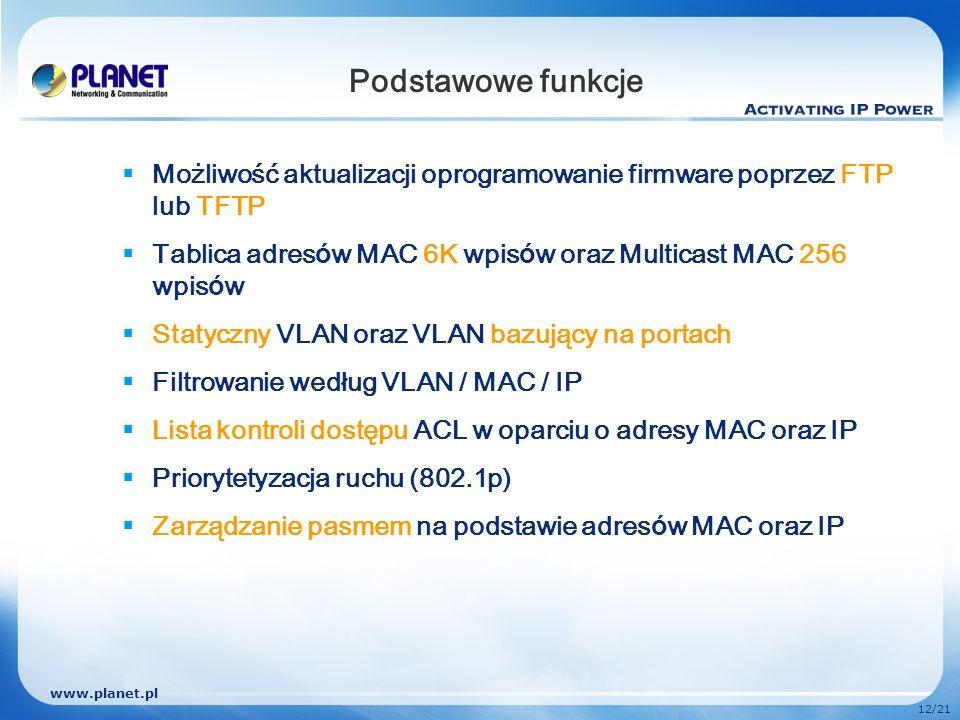 www.planet.pl 12/21 Podstawowe funkcje Możliwość aktualizacji oprogramowanie firmware poprzez FTP lub TFTP Tablica adres ó w MAC 6K wpis ó w oraz Mult