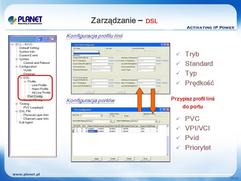 www.planet.pl 18/21 Zarządzanie – DSL Konfiguracja profilu linii Konfiguracja portów Przypisz profil linii do portu Tryb Standard Typ Prędkość PVC VPI