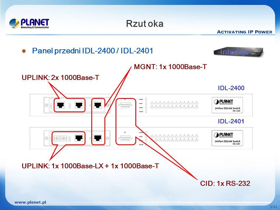www.planet.pl 3/21 Rzut oka Panel przedni IDL-2400 / IDL-2401 UPLINK: 2x 1000Base-T UPLINK: 1x 1000Base-LX + 1x 1000Base-T MGNT: 1x 1000Base-T CID: 1x