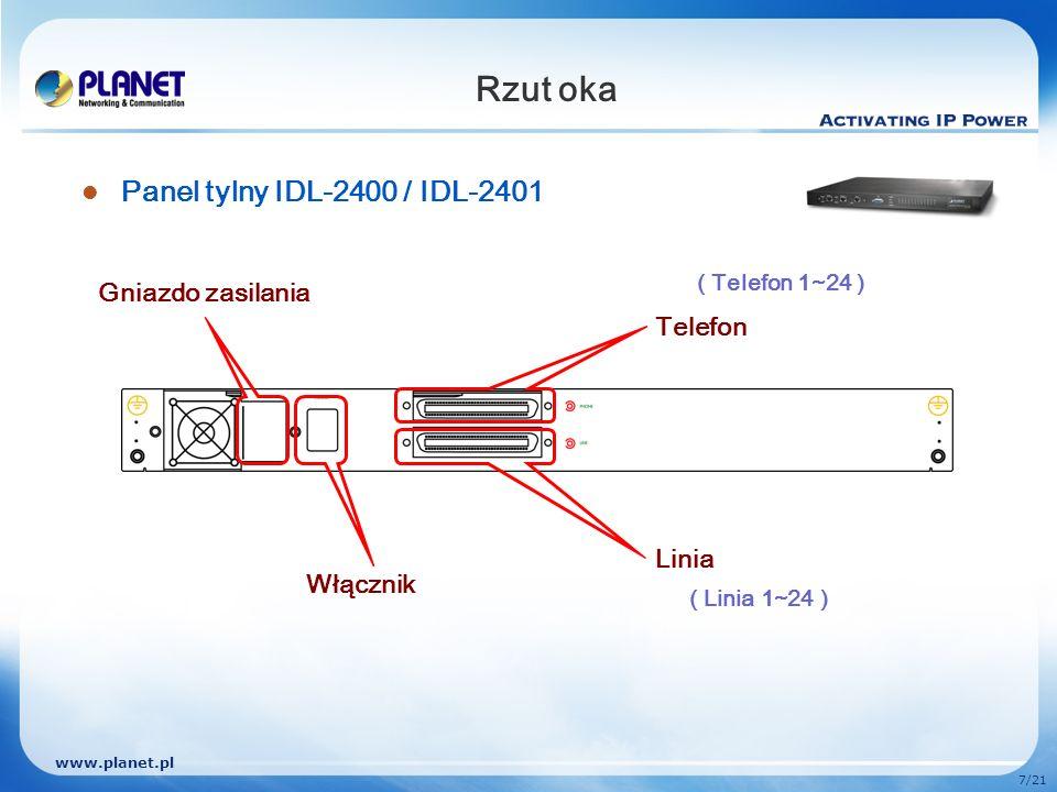 www.planet.pl 8/21 Rzut oka Panel tylny IDL-4800 / IDL-4801 Telefon1 Linia1 Włącznik Gniazdo zasilania Telefon2 Linia2 ( Linia 1~24 )( Linia 25~48 ) ( Telefon 1~24 )(Telefon 25~48 )