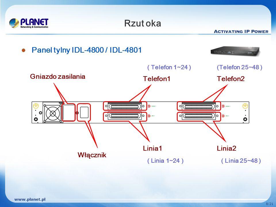 www.planet.pl 8/21 Rzut oka Panel tylny IDL-4800 / IDL-4801 Telefon1 Linia1 Włącznik Gniazdo zasilania Telefon2 Linia2 ( Linia 1~24 )( Linia 25~48 ) (
