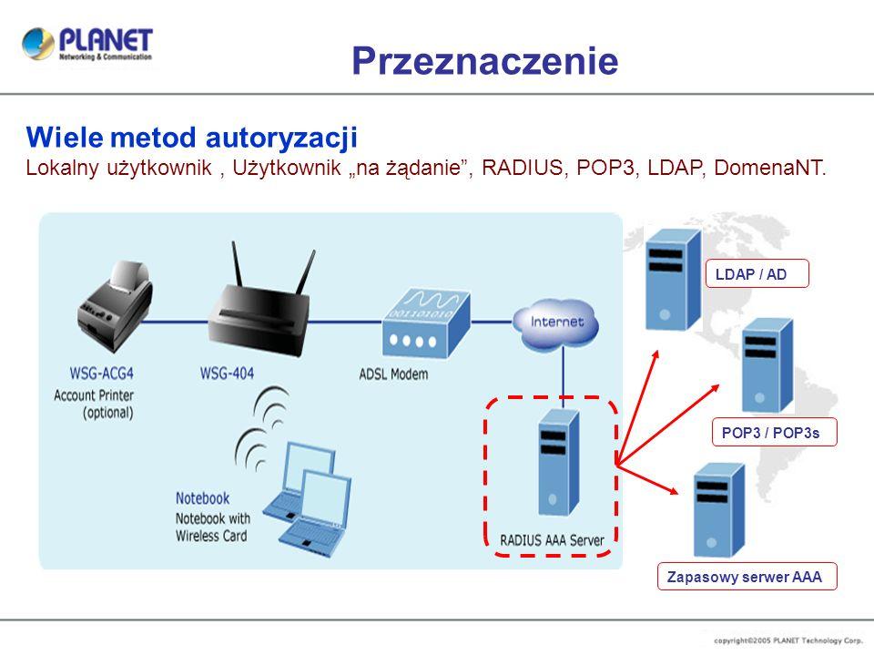 Przeznaczenie Wiele metod autoryzacji Lokalny użytkownik, Użytkownik na żądanie, RADIUS, POP3, LDAP, DomenaNT. LDAP / AD POP3 / POP3s Zapasowy serwer