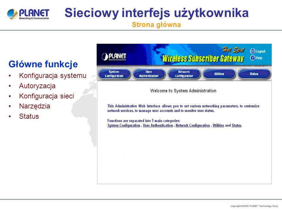 Sieciowy interfejs użytkownika Strona główna Główne funkcje Konfiguracja systemu Autoryzacja Konfiguracja sieci Narzędzia Status