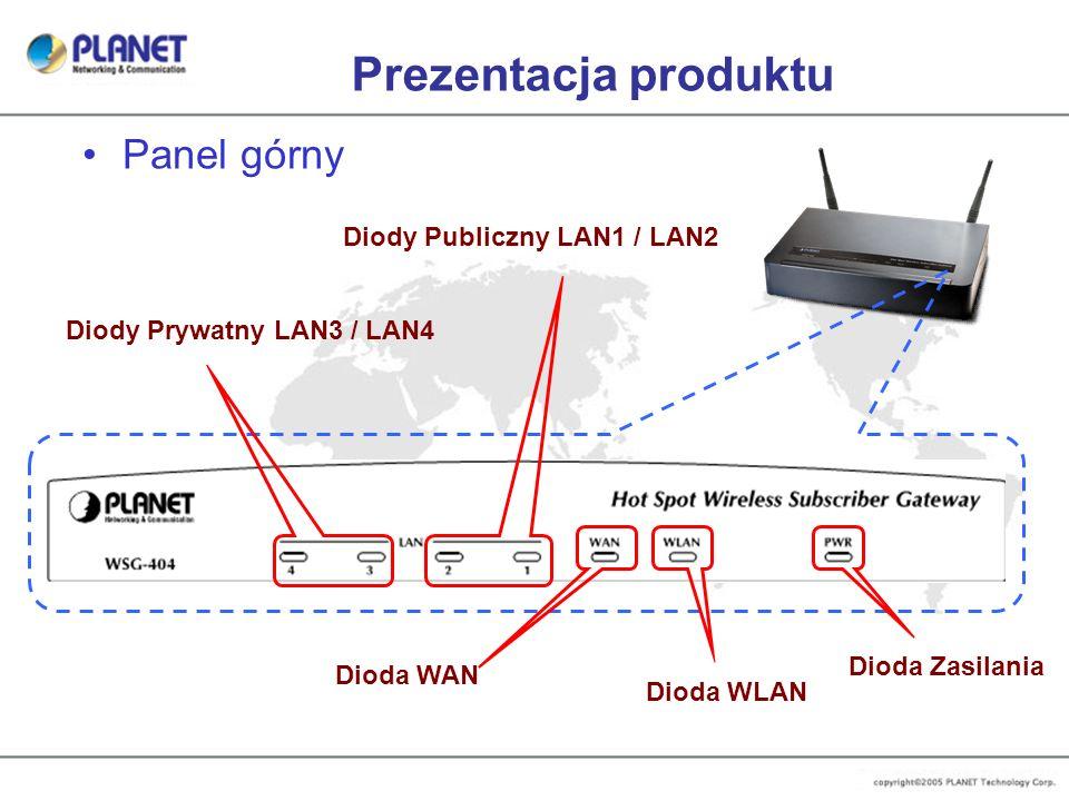 Prezentacja produktu Panel górny Diody Prywatny LAN3 / LAN4 Diody Publiczny LAN1 / LAN2 Dioda WAN Dioda WLAN Dioda Zasilania