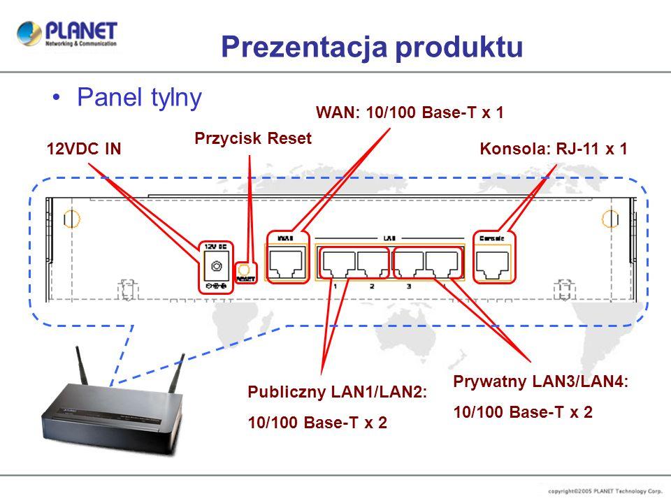 Prezentacja produktu Panel tylny WAN: 10/100 Base-T x 1 Publiczny LAN1/LAN2: 10/100 Base-T x 2 Konsola: RJ-11 x 112VDC IN Przycisk Reset Prywatny LAN3