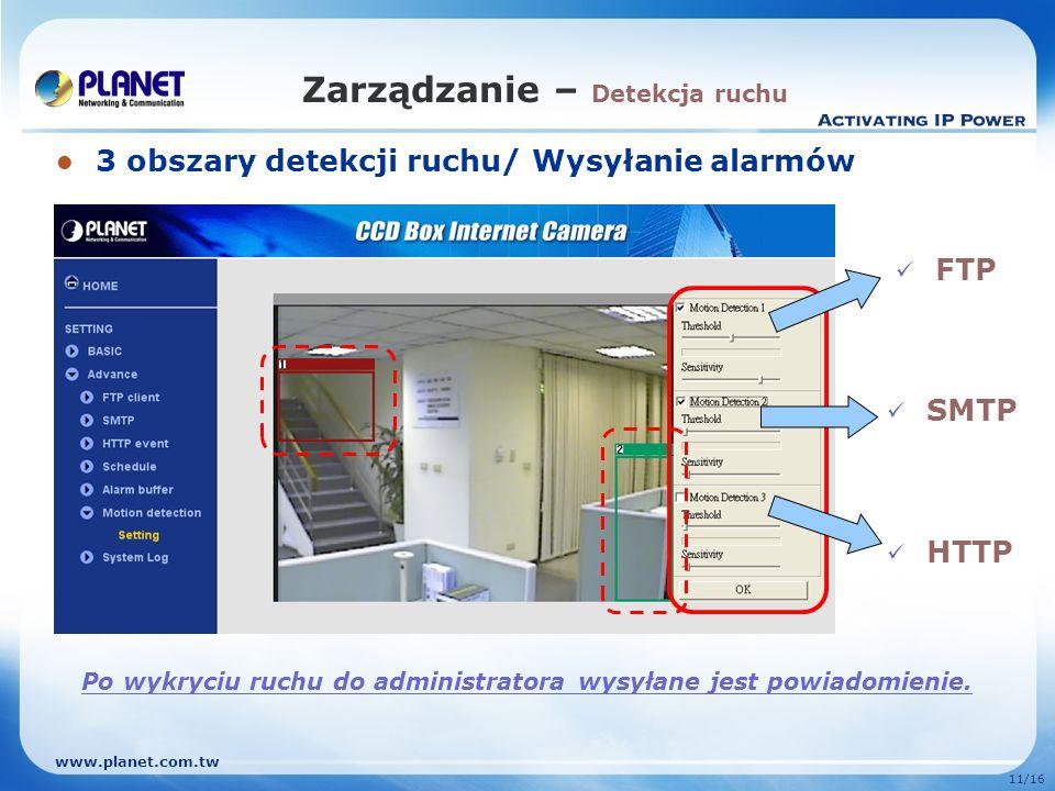 www.planet.com.tw 11/16 Zarządzanie – Detekcja ruchu 3 obszary detekcji ruchu/ Wysyłanie alarmów HTTP SMTP FTP Po wykryciu ruchu do administratora wys