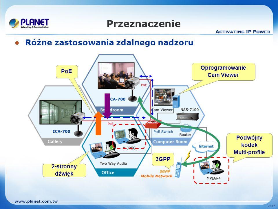 www.planet.com.tw 7/16 Przeznaczenie Różne zastosowania zdalnego nadzoru 3GPP PoE 2-stronny dźwięk Oprogramowanie Cam Viewer Podwójny kodek Multi-prof