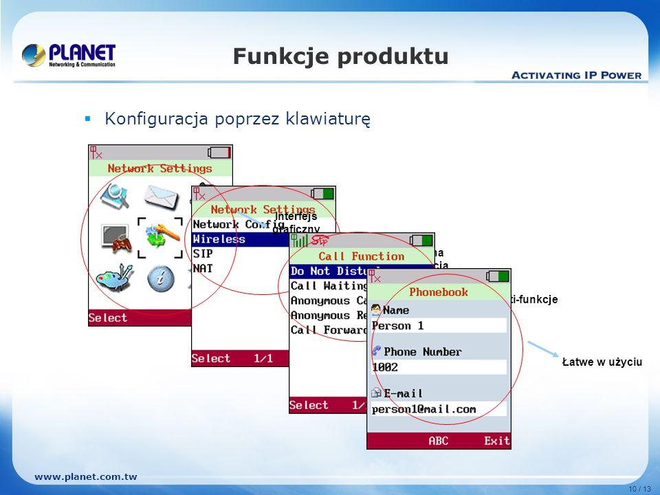 www.planet.com.tw 10 / 13 Funkcje produktu Konfiguracja poprzez klawiaturę Interfejs graficzny Kompletna konfiguracja Multi-funkcje Łatwe w użyciu