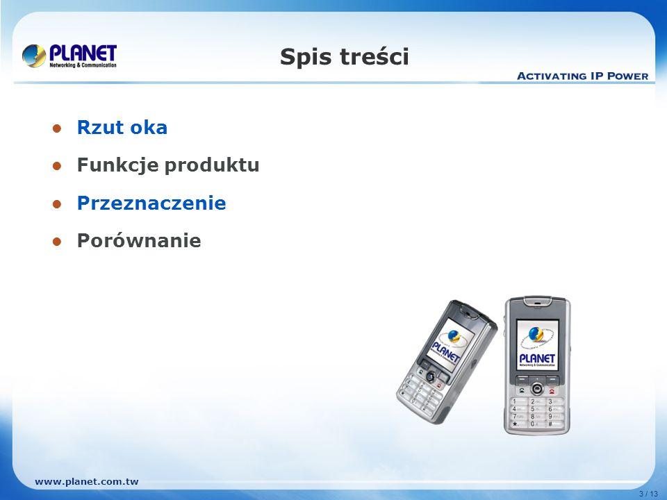 www.planet.com.tw 3 / 13 Spis treści Rzut oka Funkcje produktu Przeznaczenie Porównanie